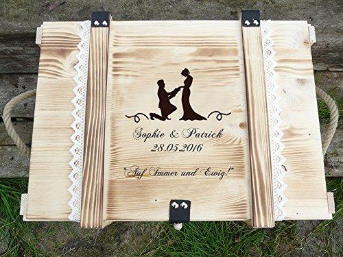Erinnerungskiste Vintage aus Holz mit Wunschmotiv - Hochzeitsgeschenk personalisiert - Erinnerungskiste mit Gravur - Hochzeitskiste - Hochzeitstruhe