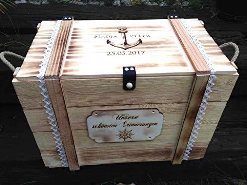 Große Erinnerungskiste Maritim aus Holz, graviert mit Wunschmotiv - Hochzeitsgeschenk personalisiert - Erinnerungskiste mit Gravur - Hochzeitskiste - Hochzeitstruhe