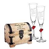 Casa Vivente Geschenkset zur Hochzeit – Sektgläser und große Schatztruhe mit Gravur – Motiv Herzen – Personalisiert mit Namen und Datum – Hochzeitsgeschenke für Brautpaar
