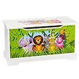 Leomark Hölzern Kindertruhenbank - Zoo- Kinderbank, Behälter für Spielzeug, Truhe für Kinderzimmer, Kindermöbel, Sitzbank mit Stauraum für Spielsachen, Höhe: 32 cm