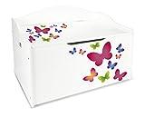 Leomark Kinderbank Hölzerne - Schmetterlinge XL - Kindertruhenbank, Behälter für Spielzeug, Truhe für Kinderzimmer, Kindermöbel, Sitzbank Höhe: 46 cm