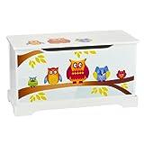 Leomark Hölzern Kindertruhenbank - Eulen - Kinderbank, Behälter für Spielzeug, Truhe für Kinderzimmer, Kindermöbel, Sitzbank mit Stauraum für Spielsachen, Höhe: 32 cm