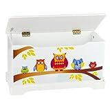 Leomark Hölzern Kindertruhenbank - Eulen - Kinderbank, Behälter für Spielzeug, Truhe für Kinderzimmer, Kindermöbel, Sitzbank mit Stauraum für Spielsachen, Höhe: 32 cm - 2