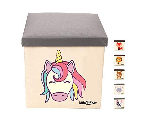 little Babo Kinder Aufbewahrungsbox I Spielzeugkiste mit Deckel für Kinderzimmer I Spielzeug Box (33x33x33) zur Aufbewahrung im Kallax Regal I faltbar, groß und stabil zum sitzen – Tiermotiv Einhorn