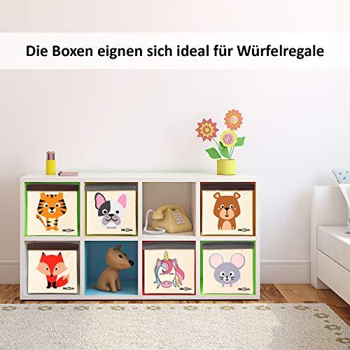 little Babo Kinder Aufbewahrungsbox I Spielzeugkiste mit Deckel für Kinderzimmer I Spielzeug Box (33x33x33) zur Aufbewahrung im Kallax Regal I faltbar, groß und stabil zum sitzen – Tiermotiv Einhorn - 2