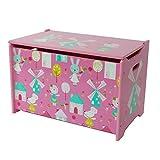 Style home Spielzeugtruhe Spielzeugkiste Kinder Sitztruhe Sitzbank Aufbewahrungsbox für Kinderzimmer, Rosa, Holz (60 x 36 x 39 cm)