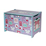 Style home Kindersitztruhe Spielzeugtruhe Aufbewahrungsbox Spielzeugkiste Holz, 60 x 36 x 40 cm (Lila)