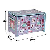 Style home Kindersitztruhe Spielzeugtruhe Aufbewahrungsbox Spielzeugkiste Holz, 60 x 36 x 40 cm (Lila) - 3