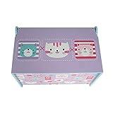 Style home Kindersitztruhe Spielzeugtruhe Aufbewahrungsbox Spielzeugkiste Holz, 60 x 36 x 40 cm (Lila) - 4