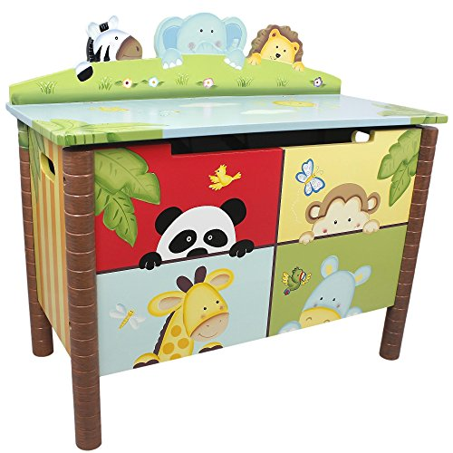Fantasy Fields Childrens Sunny Safari Kids Holz-Spielzeugkiste W-8269A