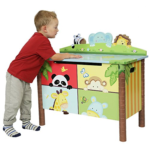 Fantasy Fields Childrens Sunny Safari Kids Holz-Spielzeugkiste W-8269A - 12