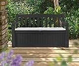 Koll Living Garden Gartenbank mit 265 Liter Stauraum - mit Verschlussmöglichkeit - Moderne Holzoptik aus wetterfestem Polypropylen Kunststoff - Deckel belastbar bis 350 kg (Anthrazit) - 2