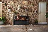 Koll Living Garden Gartenbank mit 265 Liter Stauraum - mit Verschlussmöglichkeit - Moderne Holzoptik aus wetterfestem Polypropylen Kunststoff - Deckel belastbar bis 350 kg (Anthrazit) - 7