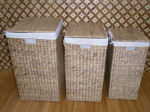BIHL Wäschekorb Wäschebox Wäschetruhe Badhocker Badschrank Wasserhyazinthe 199 (komplettes 3 er Set) - 2