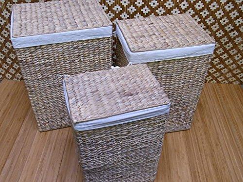 BIHL Wäschekorb Wäschebox Wäschetruhe Badhocker Badschrank Wasserhyazinthe 199 (komplettes 3 er Set) - 4