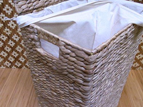 BIHL Wäschekorb Wäschebox Wäschetruhe Badhocker Badschrank Wasserhyazinthe 199 (komplettes 3 er Set) - 5