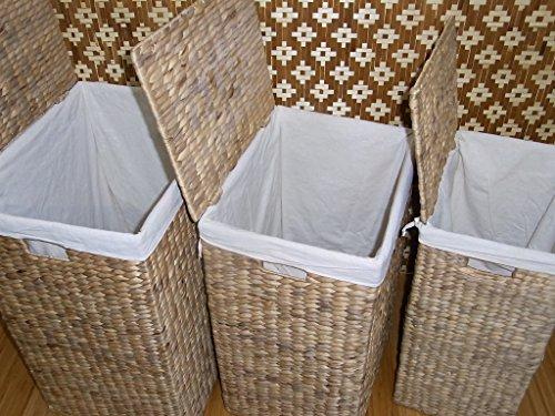 BIHL Wäschekorb Wäschebox Wäschetruhe Badhocker Badschrank Wasserhyazinthe 199 (komplettes 3 er Set) - 3