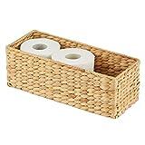 mDesign naturbelassener Flechtkorb aus Wasserhyazinthe – stapelbarer Weidenkorb – ideale Aufbewahrung für das Badezimmer – bambusfarben