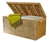 Artra Design Geflecht Truhe mit Klappdeckel 95 cm, Natur atmungsaktiv Aufbewahrungsbox mit Deckel BSCI Aufbewahrungskiste Aufbewahrungstruhe Wäschetruhe