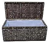 Artra Design Geflecht Truhe mit Klappdeckel 80 cm, braun BSCI atmungsaktiv Aufbewahrungsbox mit Deckel Aufbewahrungskiste Aufbewahrungstruhe Wäschetruhe