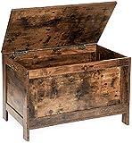 HOOBRO Spielzeugkiste, Sitzbank mit großer Stauraum, Vintage Schuhbank, Betttruhe, Flur, Schlafzimmer, Wohnzimmer, Holz, einfach zu montieren, Dunkelbraun EBF75CW01