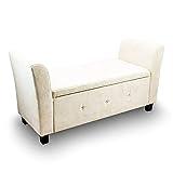 Sitzbank Sitztruhe Zweisitzer Polsterbank Fensterbank Ottomane Zweisitzer Mini Couch Kinder Couch mit Stauraum 136x45x66 (Silbergrau)