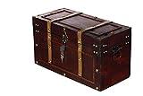 Sarah B Truhe AX4017 Abschließbar MIT Schloss Holztruhe, Schatzkiste,Kiste, Piratenkiste, Kleinmöbel,Holz Größe L 50cm - 2