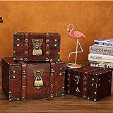 flyingx Schatztruhe Holztruhe Schatzkiste Truhe Schatztruhe Piratenkiste, Geschenk-Box Verschließbar Mit Deckel Und Schloss Mit Schlüssel, 30x20x15cm/18x11x10cm Schatzkiste Holz Sparkasse Geldtruhe - 3