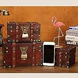 flyingx Schatztruhe Holztruhe Schatzkiste Truhe Schatztruhe Piratenkiste, Geschenk-Box Verschließbar Mit Deckel Und Schloss Mit Schlüssel, 30x20x15cm/18x11x10cm Schatzkiste Holz Sparkasse Geldtruhe - 4