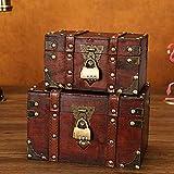 flyingx Schatztruhe Holztruhe Schatzkiste Truhe Schatztruhe Piratenkiste, Geschenk-Box Verschließbar Mit Deckel Und Schloss Mit Schlüssel, 30x20x15cm/18x11x10cm Schatzkiste Holz Sparkasse Geldtruhe - 5