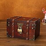 flyingx Schatztruhe Holztruhe Schatzkiste Truhe Schatztruhe Piratenkiste, Geschenk-Box Verschließbar Mit Deckel Und Schloss Mit Schlüssel, 30x20x15cm/18x11x10cm Schatzkiste Holz Sparkasse Geldtruhe - 6