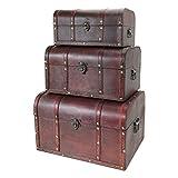 HMF 6406700 Schatztruhen aus Holz | 3er Set | Versch. Größen | Portugal