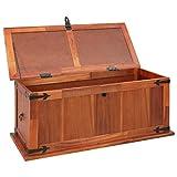 Festnight Aufbewahrungstruhe aus Akazienholz 90 x 45 x 40 cm | Aufbewahrungsbox Holztruhe Auflagenbox Kissenbox Braun - 2
