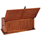 Festnight Aufbewahrungstruhe aus Akazienholz 90 x 45 x 40 cm | Aufbewahrungsbox Holztruhe Auflagenbox Kissenbox Braun - 3