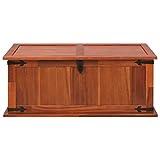 Festnight Aufbewahrungstruhe aus Akazienholz 90 x 45 x 40 cm | Aufbewahrungsbox Holztruhe Auflagenbox Kissenbox Braun - 4