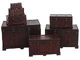 Mendler Holztruhe Holzbox Schatztruhe Valence Antikoptik 49x77x47cm ~ eckig - 6