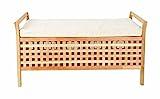 ts-ideen Sitzbank aus massivem Walnuss Holz mit Polster Badmöbel Wäschekorb Truhe - 7
