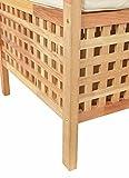ts-ideen Sitzbank aus massivem Walnuss Holz mit Polster Badmöbel Wäschekorb Truhe - 3