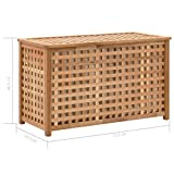 vidaXL Walnussholz Massiv Wäschetruhe mit Deckel Wäschekorb Wäschesammler Wäschebox Wäschetonne Wäschesack Bad Schlafzimmer 77,5×37,5×46,5cm Natur - 7