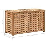vidaXL Walnussholz Massiv Wäschetruhe mit Deckel Wäschekorb Wäschesammler Wäschebox Wäschetonne Wäschesack Bad Schlafzimmer 77,5×37,5×46,5cm Natur - 8