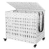 SONGMICS Wäschekorb handgeflochten, Wäschesammler aus Polyrattan, mit 3 Fächern, Deckel und Griffen, herausnehmbare Taschen, Wohnzimmer, Schlafzimmer, Waschküche, weißLCB083W01