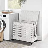SONGMICS Wäschekorb handgeflochten, Wäschesammler aus Polyrattan, mit 3 Fächern, Deckel und Griffen, herausnehmbare Taschen, Wohnzimmer, Schlafzimmer, Waschküche, weißLCB083W01 - 3