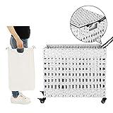 SONGMICS Wäschekorb handgeflochten, Wäschesammler aus Polyrattan, mit 3 Fächern, Deckel und Griffen, herausnehmbare Taschen, Wohnzimmer, Schlafzimmer, Waschküche, weißLCB083W01 - 4