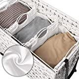 SONGMICS Wäschekorb handgeflochten, Wäschesammler aus Polyrattan, mit 3 Fächern, Deckel und Griffen, herausnehmbare Taschen, Wohnzimmer, Schlafzimmer, Waschküche, weißLCB083W01 - 6