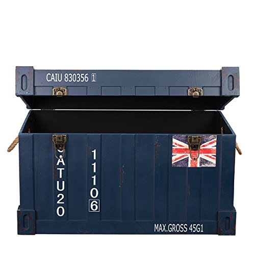 Birendy XW14B035 Container Look Holz MASSIV schwere stabile Truhe, Holztruhe, Schatzkiste,Kiste, Piratenkiste, Kleinmöbel Antikoptik, Holz,Kolonialtruhe, Truhe mit Ornamenten - 2