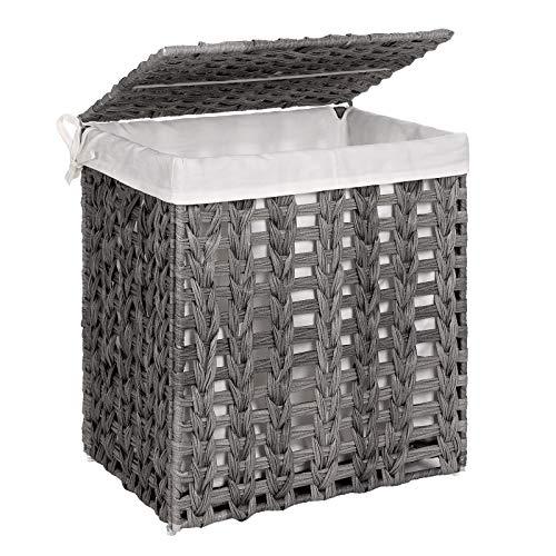 SONGMICS Wäschekorb handgeflochten, Wäschesammler aus Polyrattan, Wäschesack herausnehmbar, mit Deckel, Metallgestell, Aufbewahrungskorb, 45,5 x 32 x 51,5 cm, Wohnzimmer, grau LCB050G02