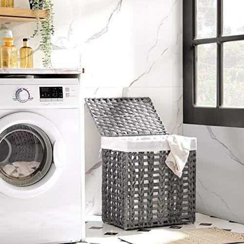 SONGMICS Wäschekorb handgeflochten, Wäschesammler aus Polyrattan, Wäschesack herausnehmbar, mit Deckel, Metallgestell, Aufbewahrungskorb, 45,5 x 32 x 51,5 cm, Wohnzimmer, grau LCB050G02 - 2