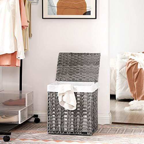 SONGMICS Wäschekorb handgeflochten, Wäschesammler aus Polyrattan, Wäschesack herausnehmbar, mit Deckel, Metallgestell, Aufbewahrungskorb, 45,5 x 32 x 51,5 cm, Wohnzimmer, grau LCB050G02 - 3