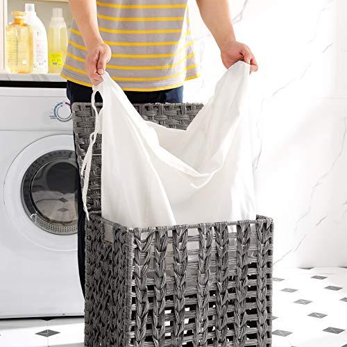 SONGMICS Wäschekorb handgeflochten, Wäschesammler aus Polyrattan, Wäschesack herausnehmbar, mit Deckel, Metallgestell, Aufbewahrungskorb, 45,5 x 32 x 51,5 cm, Wohnzimmer, grau LCB050G02 - 4