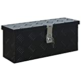 vidaXL Aluminiumkiste Transportkiste Transportbox Werkzeugkiste Werkzeugbox Deichselbox Alubox Alukoffer Lagerbox 485x140x200 mm Schwarz Aluminium